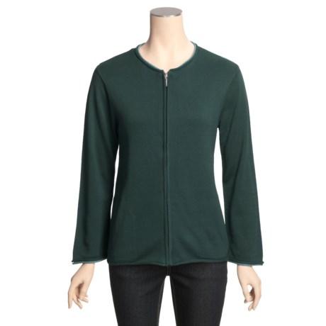 ALPS Alexa Cardigan Sweater - Zip Front, Cotton (For Women)