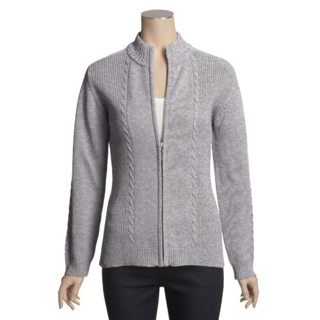 ALPS On the Go Cardigan Sweater - Nubby Cotton, Zip Front (For Women)