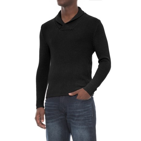 Michael Brandon Collection Shawl Collar Knit Sweater - Cotton Blend (For Men)
