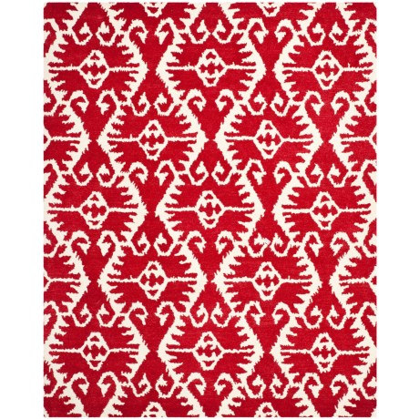 Safavieh Wyndham Collection Red and Ivory Area Rug - 8x10', Hand-Tufted Wool