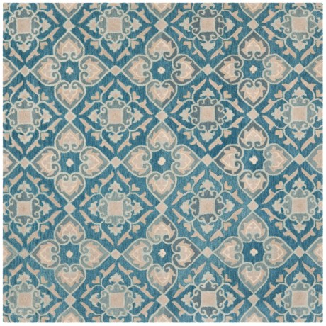 Safavieh Wyndham Collection Blue and Grey Square Area Rug - 7x7', Hand-Tufted Wool