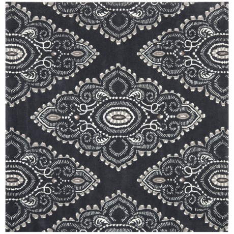Safavieh Wyndham Collection Dark Grey and Ivory Square Area Rug - 7x7', Hand-Tufted Wool