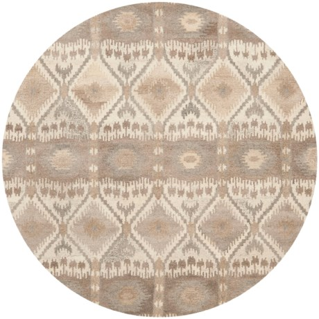 Safavieh Wyndham Collection Diamond Multi-Natural Round Area Rug - 7', Hand-Tufted Wool