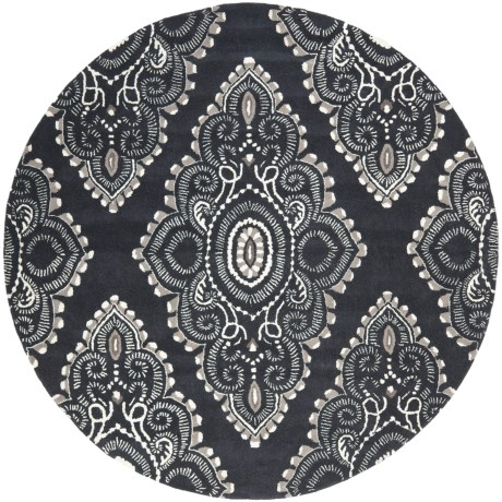 Safavieh Wyndham Collection Dark Grey and Ivory Round Area Rug - 7', Hand-Tufted Wool