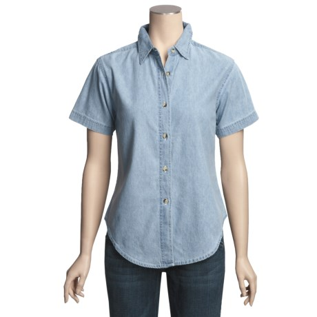Luna Pier Denim Shirt- Short Sleeve (For Women)