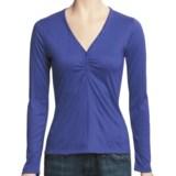 V-Neck Henley Shirt - Long Sleeve (For Women)