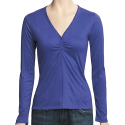 V-Neck Henley Shirt - Long Sleeve (For Women)