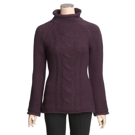 Lauren Hansen Chunky Wool-Rich Sweater - Placed Cable (For Women)