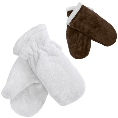 White Sierra Cozy Fleece Mittens - Reversible (For Women)