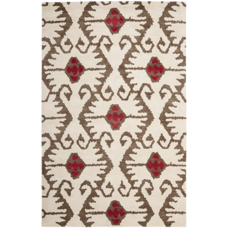 Safavieh Wyndham Collection Ivory and Brown Area Rug - 5x8', Hand-Tufted Wool