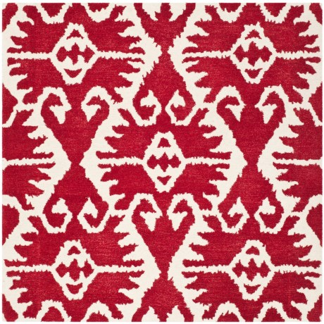 Safavieh Wyndham Collection Red and Ivory Square Area Rug - 5x5', Hand-Tufted Wool
