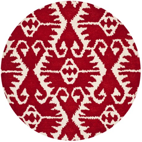 Safavieh Red and Ivory Round Area Rug - 5', Hand-Tufted Wool