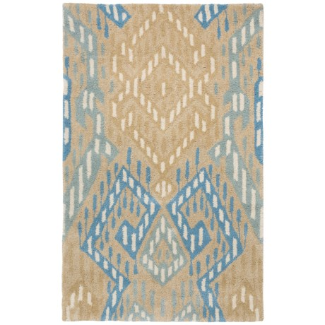 """Safavieh Wyndham Collection Blue and Ivory Floor Runner - 2'6""""x4', Hand-Tufted Wool"""