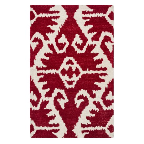 "Safavieh Wyndham Collection Red and Ivory Floor Runner - 2'6""x4', Hand-Tufted Wool"