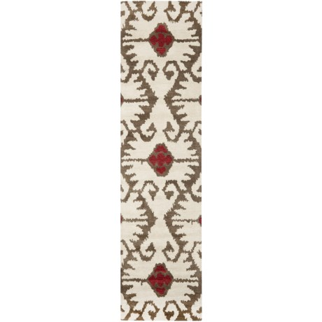 "Safavieh Wyndham Collection Ivory and Brown Floor Runner - 2'3""x9', Hand-Tufted Wool"