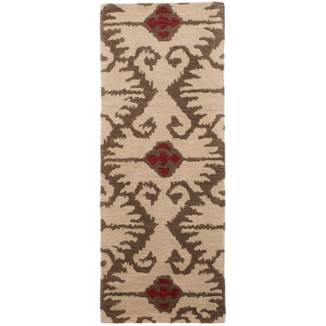 "Safavieh Wyndham Collection Ivory and Brown Floor Runner - 2'3""x7', Hand-Tufted Wool"