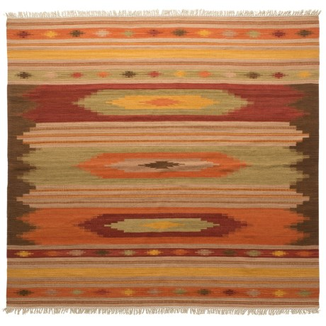 Safavieh Kilim Collection Multi-Brown Square Area Rug - 7x7', Hand-Tufted Wool