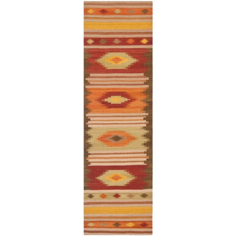 "Safavieh Kilim Collection Multi-Brown Floor Runner - 2'3""x8', Hand-Tufted Wool"