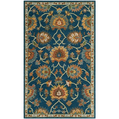 Safavieh Heritage Collection Navy Area Rug - 5x8', Hand-Tufted Wool