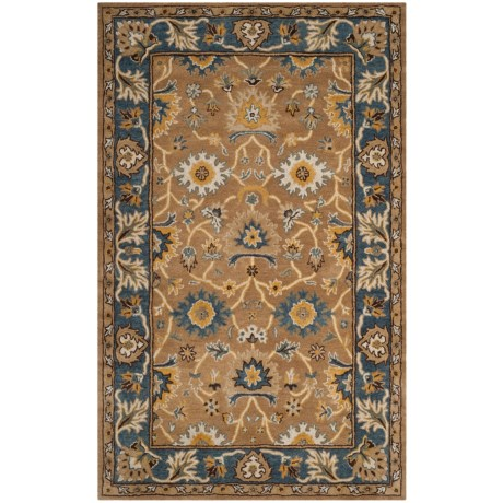 Safavieh Heritage Collection Camel and Blue Area Rug - 5x8', Hand-Tufted Wool