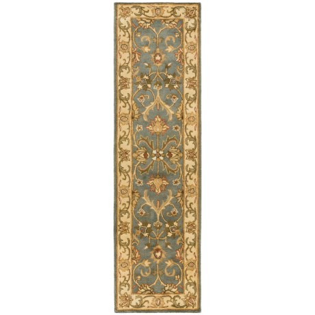 "Safavieh Heritage Collection Blue and Beige Floor Runner - 2'3""x8', Hand-Tufted Wool"