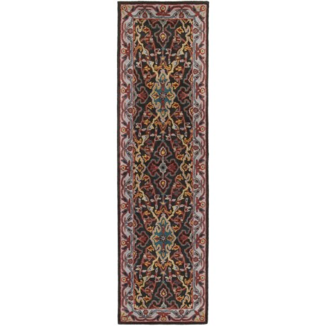 """Safavieh Heritage Collection Charcoal and Ivory Floor Runner - 2'3""""x8', Hand-Tufted Wool"""