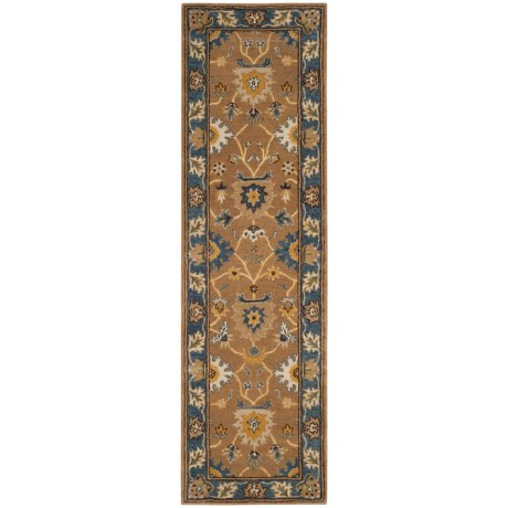 "Safavieh Heritage Collection Camel & Blue Runner Rug - 2'3""x8', Hand-Tufted Wool"