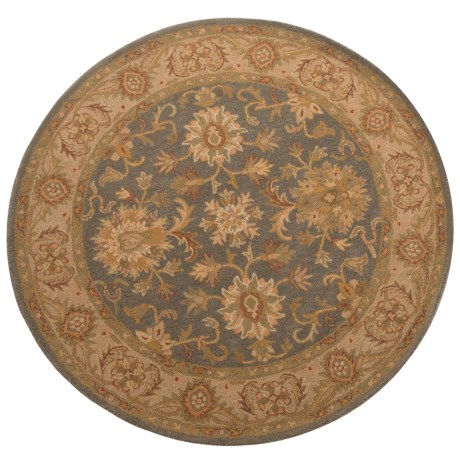 Safavieh Antiquity Collection Grey Blue and Beige Round Area Rug - 6', Hand-Tufted Wool
