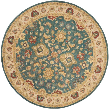 Safavieh Antiquity Collection Blue and Beige Round Area Rug - 6', Hand-Tufted Wool