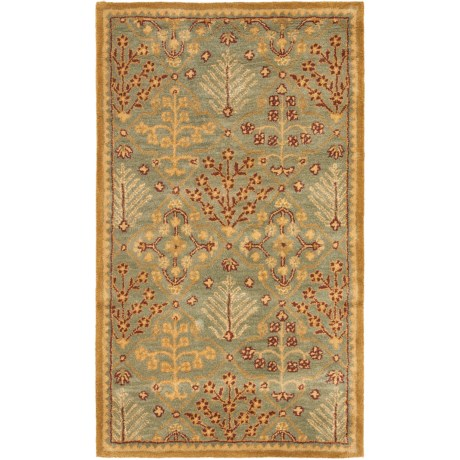Safavieh Antiquity Collection Light Blue and Gold Scatter Accent Rug - 3x5', Hand-Tufted Wool
