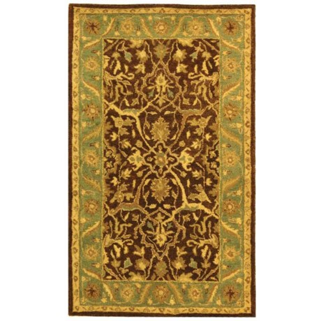 Safavieh Antiquity Collection Brown and Green Scatter Accent Rug - 3x5', Hand-Tufted Wool