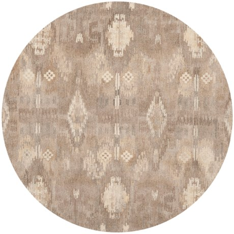 Safavieh Wyndham Collection Pixelated Multi-Natural Round Area Rug - 7', Hand-Tufted Wool