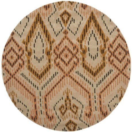 Safavieh Wyndham Collection Brown and Ivory Round Area Rug - 7', Hand-Tufted Wool