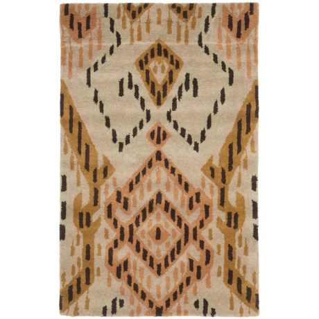 "Safavieh Wyndham Collection Brown and Ivory Floor Runner - 2'6""x4', Hand-Tufted Wool"