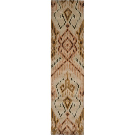 """Safavieh Wyndham Collection Brown and Ivory Floor Runner - 2'3""""x9', Hand-Tufted Wool"""