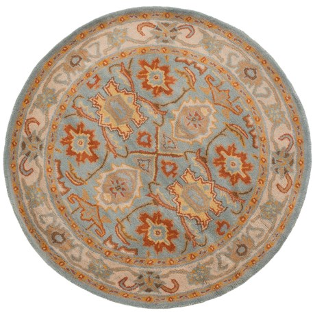 Safavieh Heritage Collection Light Blue and Ivory Round Area Rug - 4', Hand-Tufted Wool