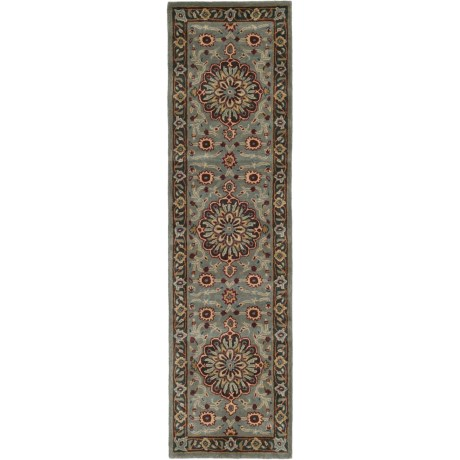 "Safavieh Heritage Collection Green and Gold Floor Runner - 2'3""x8', Hand-Tufted Wool"