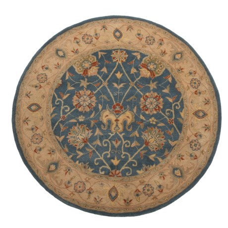 Safavieh Antiquity Collection Blue Round Area Rug - 6', Hand-Tufted Wool