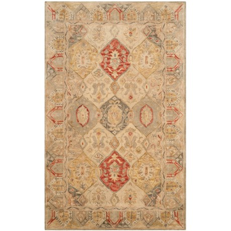 Safavieh Antiquity Collection Beige and Multi-Beige Area Rug - 5x8', Hand-Tufted Wool