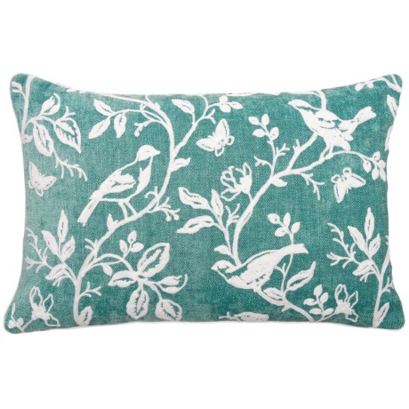 "EnVogue Bird Art Chenille Throw Pillow - 16x24"", Feathers"