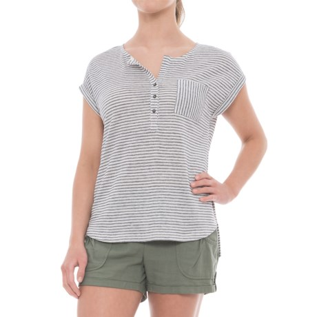 C&C California Dolman Roll-Cuff Linen Shirt - Short Sleeve (For Women)
