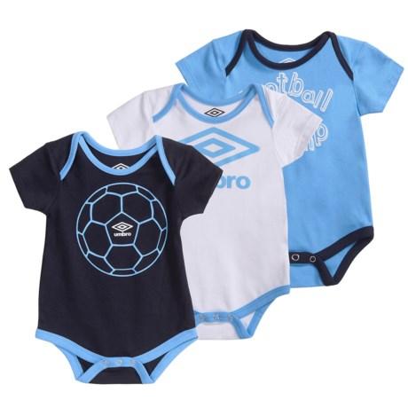 Umbro Fanatic Creeper Bodysuit - 3-Pack, Short Sleeve (For Infants)