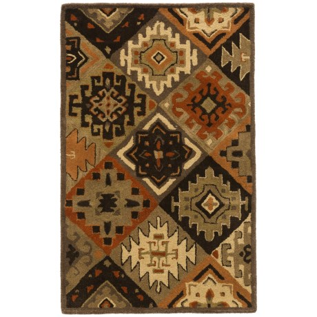 Rizzy Home South-West Collection Green Accent Rug - 3x5', Wool