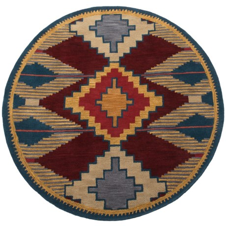 "Rizzy Home South-West Collection Red and Blue Round Area Rug - 8"", Wool"