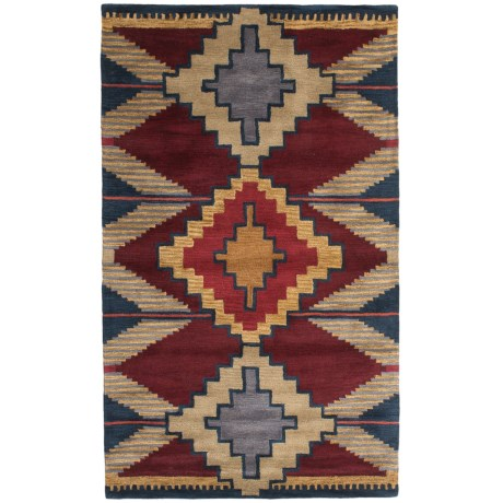 Rizzy Home South-West Collection Red and Blue Area Rug - 5x8', Wool
