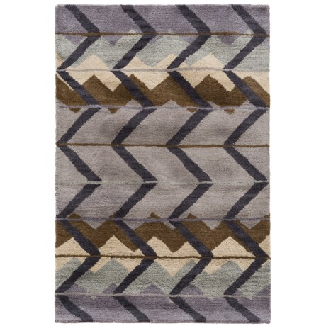 Rizzy Home Tumble Weed Loft Collection Blue Chevron Accent Rug - 3x5', Wool