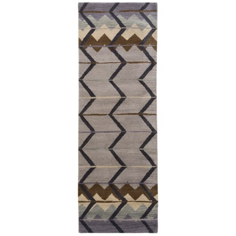"Rizzy Home Tumble Weed Loft Collection Blue Chevron Floor Runner - 2'6""x8', Wool"