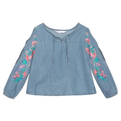 P.S. from Aeropostale Cold-Shoulder Chambray Shirt - Long Sleeve (For Little Girls)