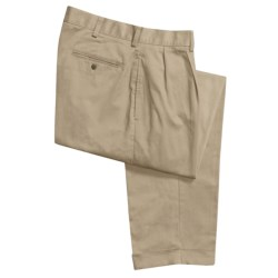 Cotton Twill Chino Pants with Reverse Pleats (For Men)