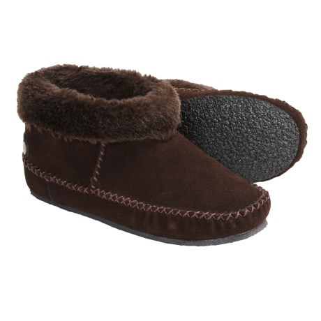 Minnetonka Moccasin Karen Ankle Bootie Slippers - Suede, Rolled Collar (For Women)